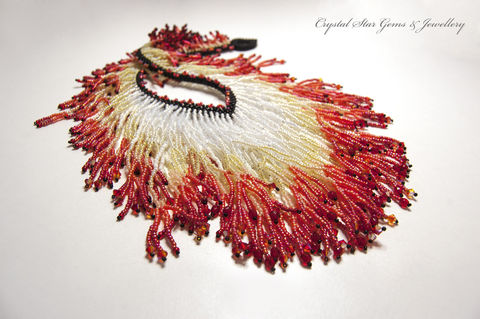Flame,Necklace,Jewelry,Beadwork,beadwoven,beaded,necklace,flame,red,white,orange,fire,Swarovski_crystals,EBW,fringe,miyuki seed beads,toho seed beads,Swarovski crystals,Czech glass