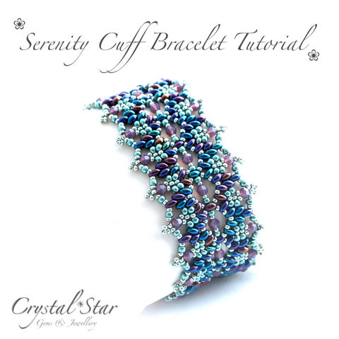 Serenity,Cuff,Bracelet,Tutorial,Patterns,Beading,Jewelry,jewellery,pattern,tutorial,beading,beaded,bead,seed_bead,cuff,crystal,SuperDuo,Twin_Bead,No11 Seed Beads,4mm rounds,4mm faceted rounds,4mm bicones,clasp,SuperDuos,Twin beads,No8 Seed Beads