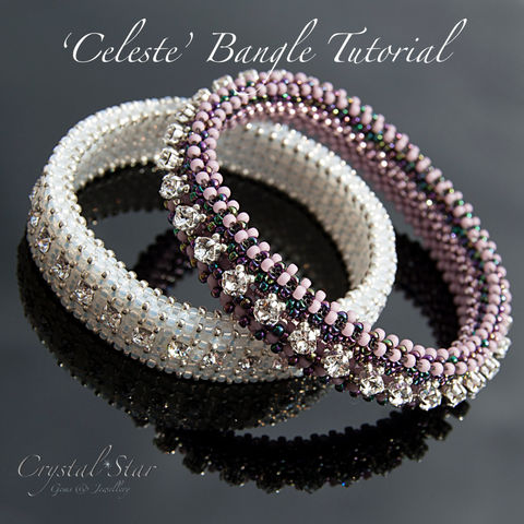 Celeste,Bangle,Tutorial,Pattern,tutorial,jewellery,beading,beaded,bead,seed_bead,crystal,bangle,bangle_tutorial,bangle_pattern,celeste,bead_pattern,No11 Seed Beads,No15 Seed Beads,4mm Swarovski Montee,Fireline