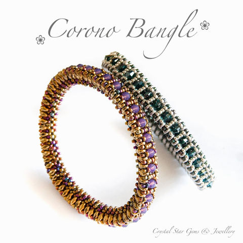Corono,Bangle,Tutorial,PDF,Patterns,pattern,jewellery,tutorial,beading,beaded,bead,seed_bead,crystal,SuperDuo,bangle,twin_bead,corono,bangle_tutorial,No11 Seed Beads,4mm rounds,4mm faceted rounds,4mm bicones,SuperDuos