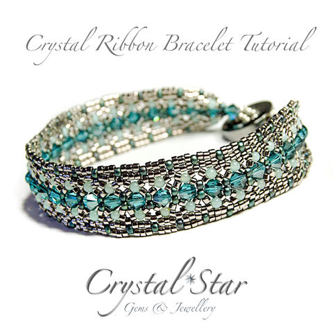 Crystal,Ribbon,Bracelet,Tutorial,Patterns,Beading,Jewelry,jewellery,pattern,tutorial,beading,beaded,bead,seed_bead,crystal,crystal_ribbon,ribbon,4mm_bicone_pattern,2mm_bead,No11 Seed Beads,4mm rounds,4mm faceted rounds,4mm bicones,No15 seed beads,clasp,No11 Miyuki Delica Beads,2m