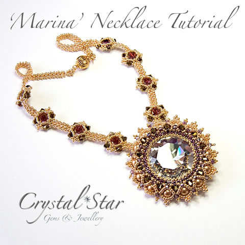 Marina,Necklace,Tutorial,Patterns,Beading,Jewelry,jewellery,tutorial,beading_tutorial,beaded_necklace,pattern,35mm_crystal_round,35mm_bezel,crystal,39ss_bezel,crystal_star,necklace,Toho No 11 seed beads,swarovski crystals,clasp,No15 seed beads,No11 Miyuki Delica Beads,3