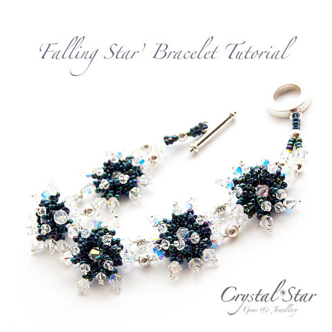 Falling,Star,Bracelet,Tutorial,Patterns,Beading,Jewelry,jewellery,tutorial,beading,beaded,bead,seed_bead,crystal,pattern,bracelet,star,falling_star,No11 Seed Beads,4mm bicones,Fireline,4mm rounds,3mm bicones,No8 Seed Beads,clasp