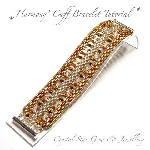 Harmony,Cuff,Bracelet,Tutorial,Patterns,Beading,Jewelry,EBW_tutorial,EBW,tutorial,beading,beaded,bead,seed_bead,cuff,amber,crystal,SuperDuo,Twin_Bead,No11 Seed Beads,4mm rounds,4mm faceted rounds,4mm bicones,No15 seed beads,clasp,SuperDuos,Twin beads