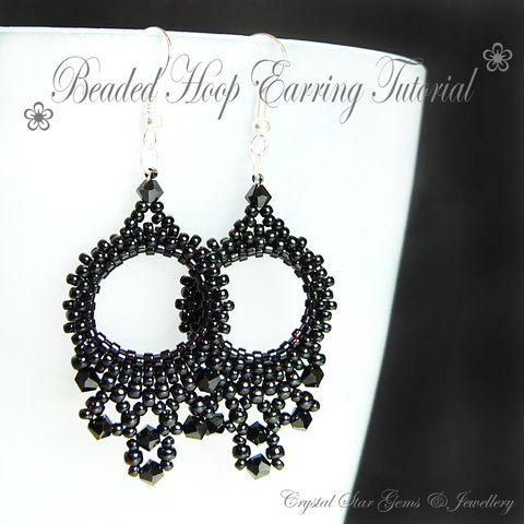 Beaded,Hoop,Earring,Tutorial,Patterns,Beading,Jewelry,pattern,jewellery,beaded_earrings,hoop_earrings,earring,seed beads,swarovski crystals,sheperd hooks,thread
