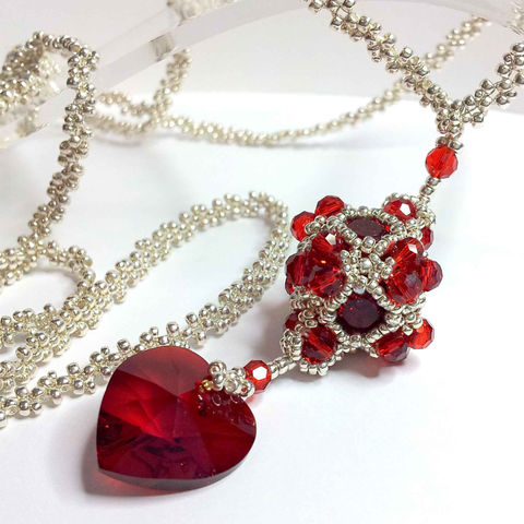 Aphrodite,Cube,&,Heart,Beadwork,Necklace,Jewelry,red,silver,heart,beadwork,beaded,necklace,,extra_long,beaded_chain,cube,swarovski,crystal,Toho seed beads,Miyuki seed beads,Swarovski crystal chatons,Swarovski crystal heart