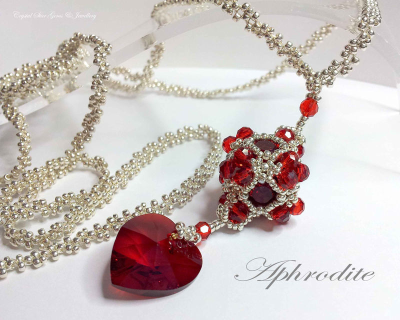 Aphrodite Cube & Heart Beadwork Necklace - product image