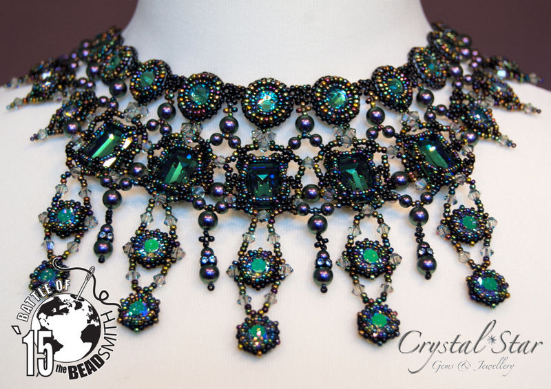 One of a Kind - 'Persephone' - Bead Embroidery Necklace with Swarovski Crystals - product image