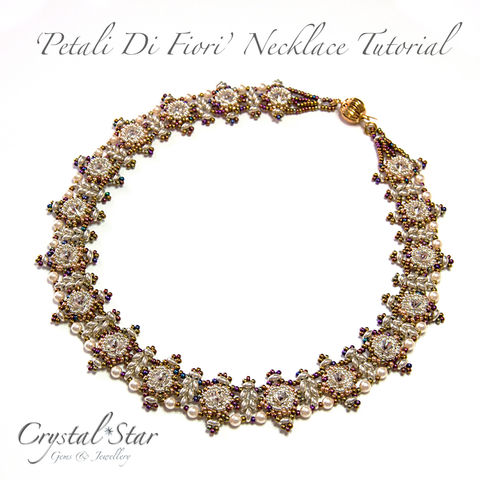 Petali,Di,Fiori,Necklace,Tutorial,Patterns,Beading,Jewelry,pattern,jewellery,beading,beaded,bead,twin_bead,necklace,instructions,rivoli,petali_di_fiori,collar,No11 Seed Beads,twin beads,round beads,thread,No15 Seed Beads,4mm pearls,8mm Swarovski rivoli