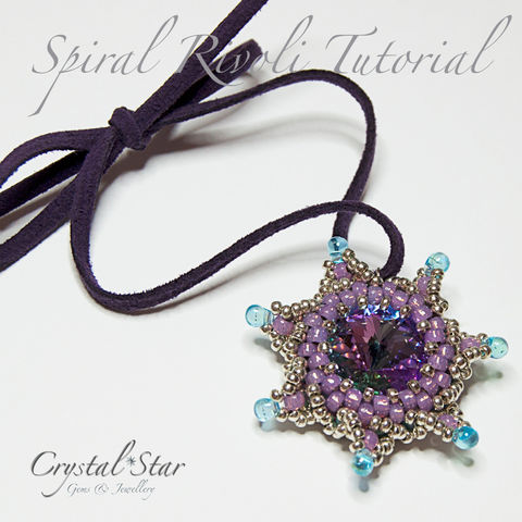 Spiral,Rivoli,Tutorial,Pattern,tutorial,beading,beaded_flower,bead,pattern,daisy,beading_pattern,spiral,18mm_rivoli,Swarovski,No11 Seed Beads,18mm Swarovski Rivoli,Fireline,Miyuki Drop Beads,No8 Toho Seed Beads,4mm jump ring,ribbon,suede or similar