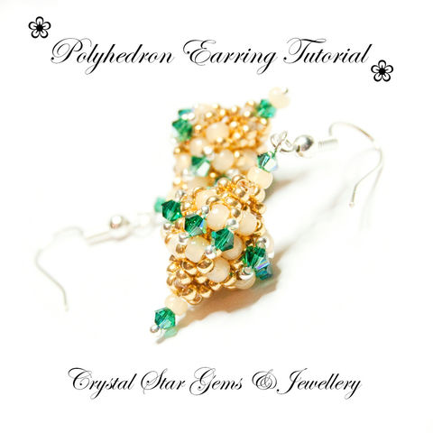 Polyhedron,Earring,Tutorial,Patterns,Beading,Jewelry,tutorial,beading,beadwork,earrings,beaded_bead,polyhedron,CRAW,jewellery,beaded_earrings,cube_bead,pattern,earring_pattern,instructions,seed beads,swarovski crystals