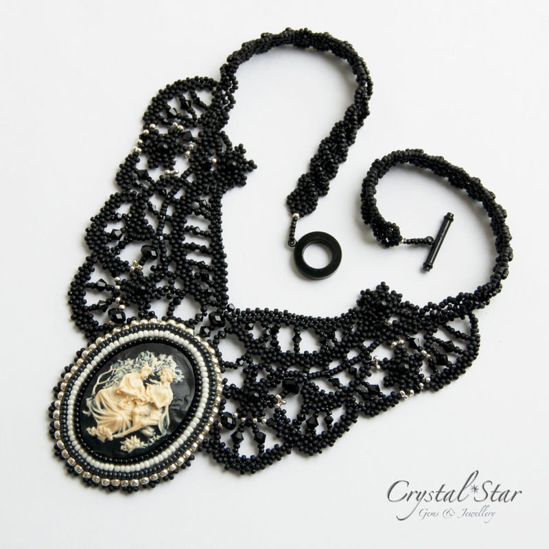 Beaded Lace Necklace - 'Hattie' - product image