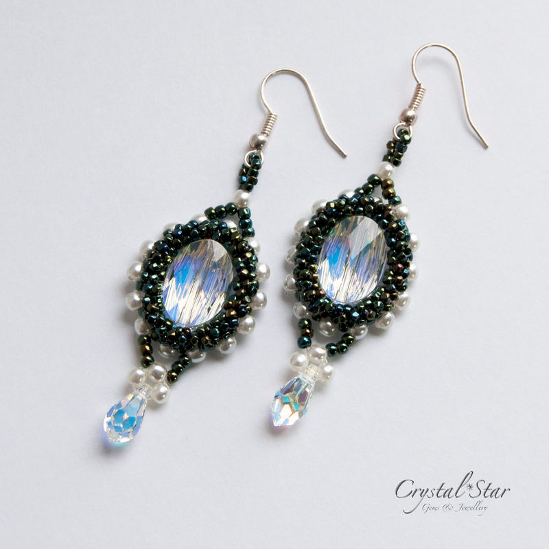 Victorian Style  Moss Green Swarovski Crystal Earrings - product image