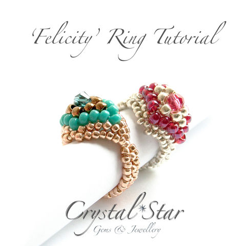 Felicity,Beaded,Ring,Tutorial,Patterns,Beading,Jewelry,jewellery,beaded_ring,ring,diamond_shape,,peyote_ring,diamond_peyote,fireline,No8 seed beads,No11 Seed beads,4mm round,4mm bead,4mm faceted bead,4mm swarovski bicone