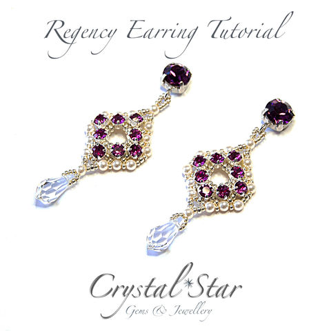 Regency,Earring,Tutorial,Patterns,Beading,Jewelry,Earrings,tutorial,long_earrings,Swarovski_Chatons,classic,regency,39ss,montees,3mm_pearl,drops,crystal,evening,No11 Seed Beads,No15 Seed Beads,39ss Swarovski Chatons,4mm montees,3mm pearls,ear wires,ear posts,fi