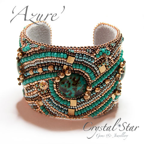 Azure,Bead,Embroidered,Cuff,Jewelry,Bracelet,bead_embroidery,bead_embroidery_cuff,cuff,turquoise,bracelet,rose_gold,azure,bronze,beaded_cuff,wide,swarovski,one_of_a_kind,unique,brass blank,ultra suede,miyuki seed beads,toho seed beads,swarovski crystals,swarovski glass pearls,t