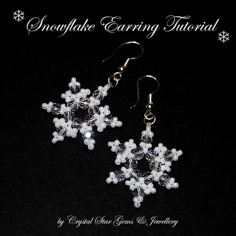 Snowflake,Earring,Tutorial,Patterns,Beading,Jewelry,earrings,snowflake,easy,beading,beaded,tutorial,Christmas,festive,toho seed beads,4mm crystal rounds,shepherd hook earwires,jump rings