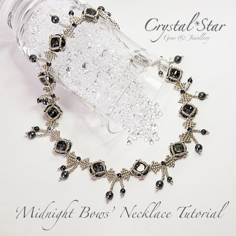 Midnight,Bows,Necklace,Tutorial,Patterns,Beading,Jewelry,pattern,jewellery,beading,beaded,bead,tutorial,necklace,6mm pearls, 4mm montees, 4mm pearls, instructions,square bezel, 4470 Swarovski 12mm, tracey lorraine, bows,collar,No11 Seed Beads