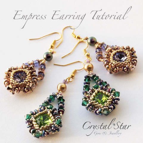Beading,PDF,Tutorial,-,Empress,Earrings, tutorial, pattern, instructions,beading,earrings, jewellery, jewelry,beadwork,12mm fancy stone, swarovski,