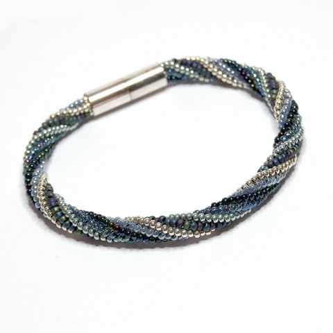 Spiral,Beadwork,Bracelet,in,Blue,&,Silver,Beaded bracelet, spiral bracelet, magnetic clasp, bracelet, jewellery, unique, jewelry, blue, silver,