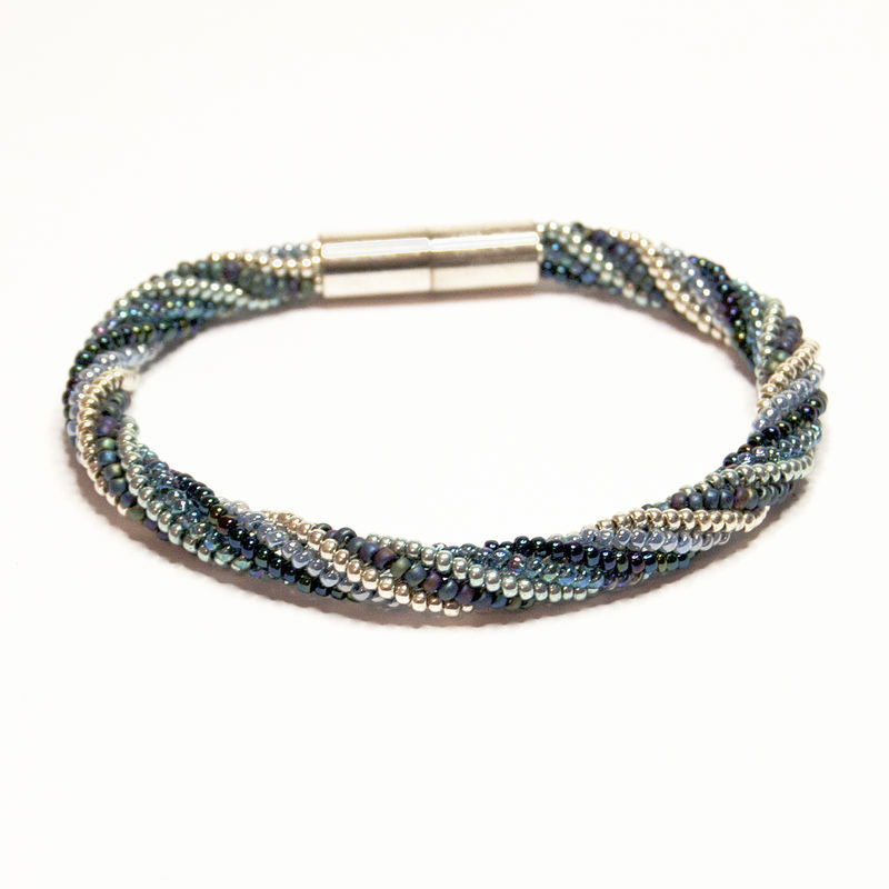 Spiral Beadwork Bracelet in Blue & Silver - product image