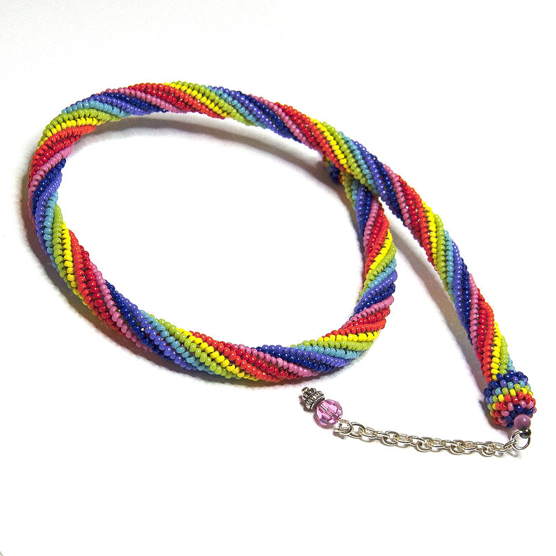 Rainbow Spiral Beadwork Necklace - product image