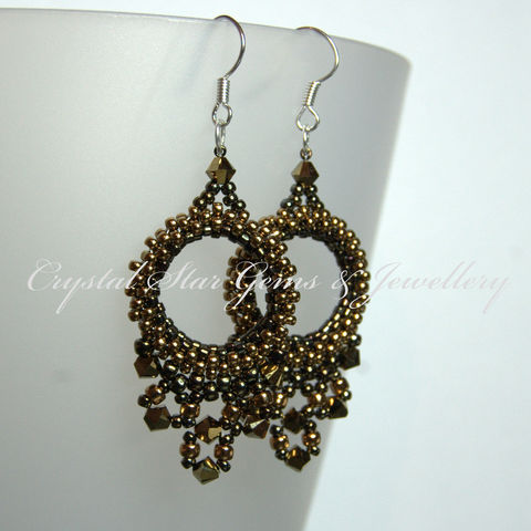 Copper,Beaded,Hoop,Earrings,earrings, swarovski, hoops, copper, brown, dorado, crystal