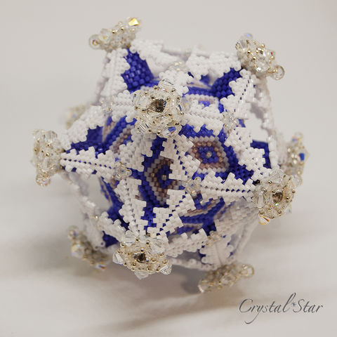 Frosted,Deltahedron,-,Peyote,Stitch,Geometric,Beadwork,Beaded,beading,geometric,deltahedron,ornament,peyote,christmas,PDF,tutorial,pattern,instructions,handmade,gift, PDF, tutorial, pattern, geometric, frosted