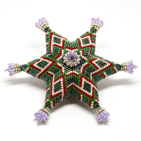 The,Highland,Thistle,Star,-,Peyote,Stitch,Geometric,Beadwork,Beaded,beading,geometric,star,,ornament,peyote,christmas,PDF,tutorial,pattern,instructions,handmade,gift, PDF, tutorial, pattern, geometric, six pointed star, tartan, thistle
