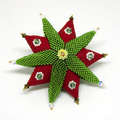 The,Christmas,Star,-,Peyote,Stitch,Beaded,beading,geometric,star,,ornament,peyote,christmas,PDF,tutorial,pattern,instructions,handmade,gift, PDF, tutorial, pattern, geometric, ten pointed star, Tracey Lorraine, Crystal Star Gems & Jewellery