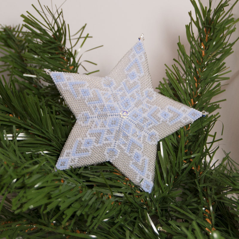 The Glass Snowflake Star - Peyote Stitch - product images
