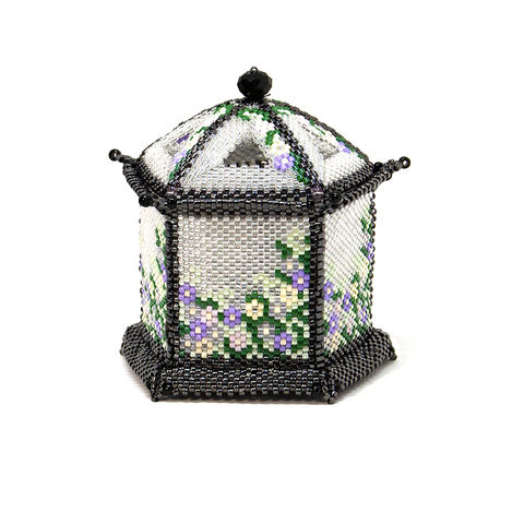 The,Chinese,Pagoda,Trinket,Box,and,Tea,Light,Holder,-,Peyote,Stitch,Beaded,beading,geometric,box,trinket,lantern,chinese,pagoda,ornament,peyote,christmas,PDF,tutorial,pattern,instructions,handmade,gift, pattern,glass,Tracey Lorraine,Crystal Star Gems & Jewellery