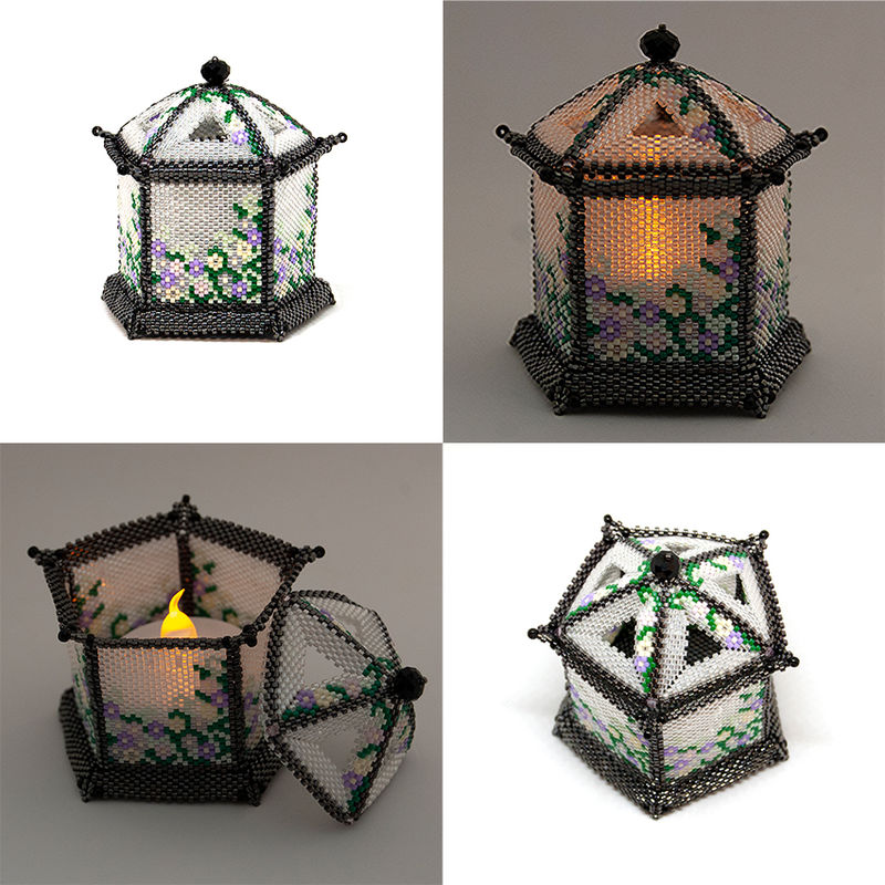 The Chinese Pagoda Trinket Box and Tea Light Holder - Peyote Stitch - product image