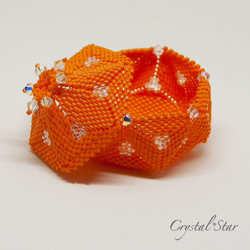 The Pumpkin Trinket Box - LED Lantern - Peyote Stitch - product image