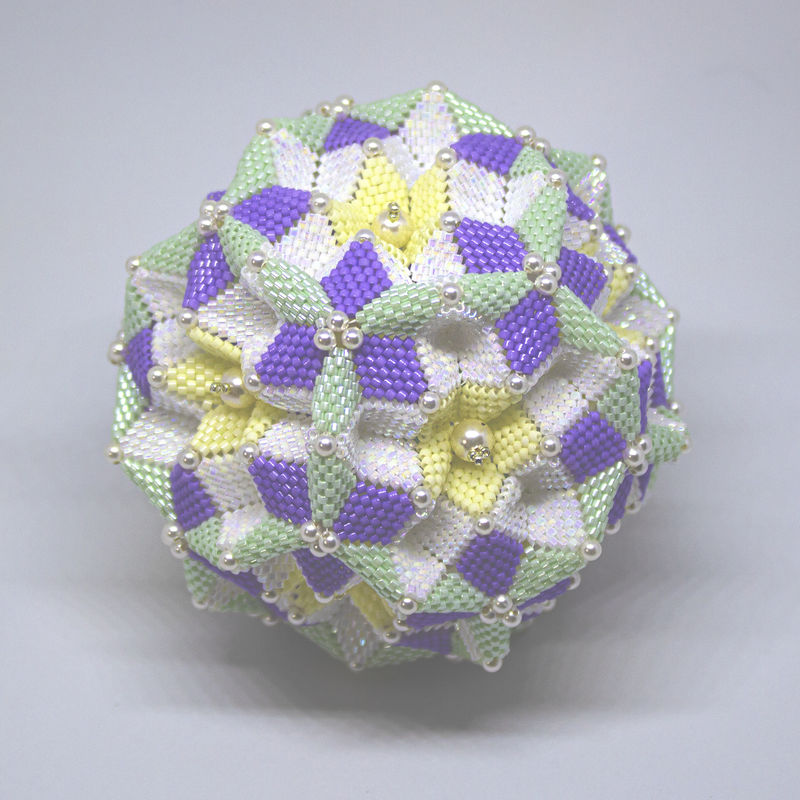 The Spring Dodecahedron Ornament - Peyote Stitch - Geometric Beadwork - product image