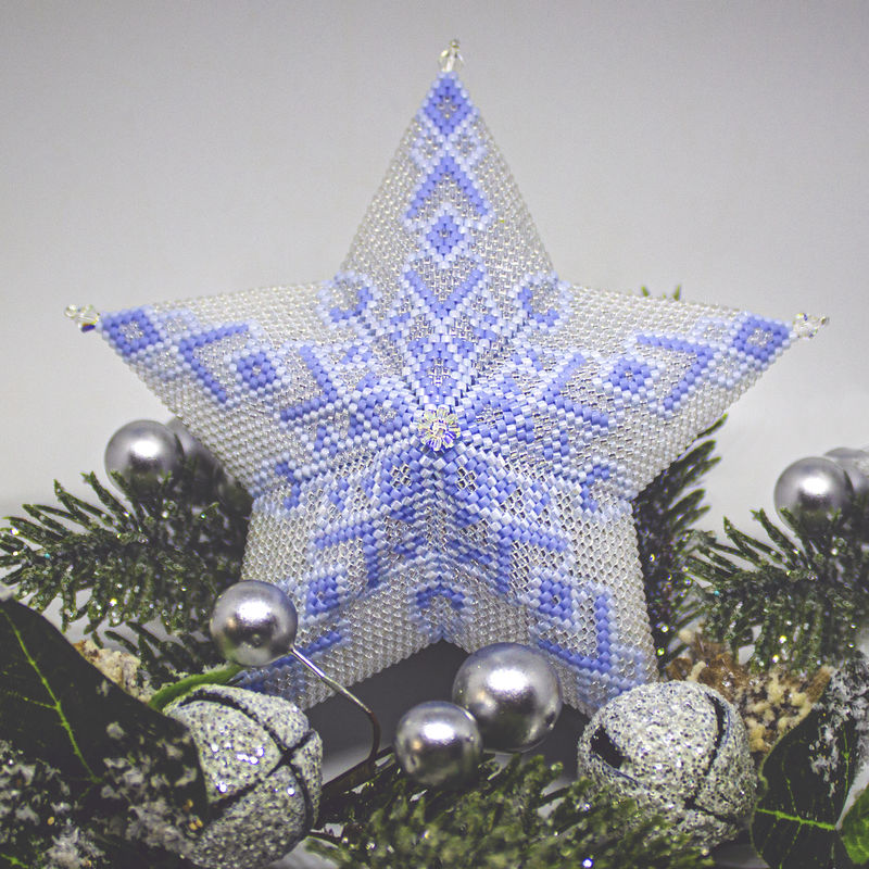 The Glass Snowflake Star - Tutorial - Peyote Stitch - product image
