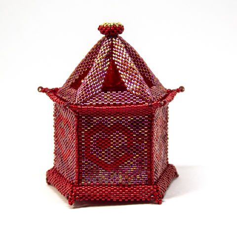 The,Heart,Lantern,Trinket,Box,and,Tea,Light,Holder,-,Peyote,Stitch,Beaded,beading,geometric,box,trinket,lantern,,ornament,peyote,valentine,PDF,crystal star,Tracey Lorraine, Heart Lantern,Crystal Star Gems & Jewellery