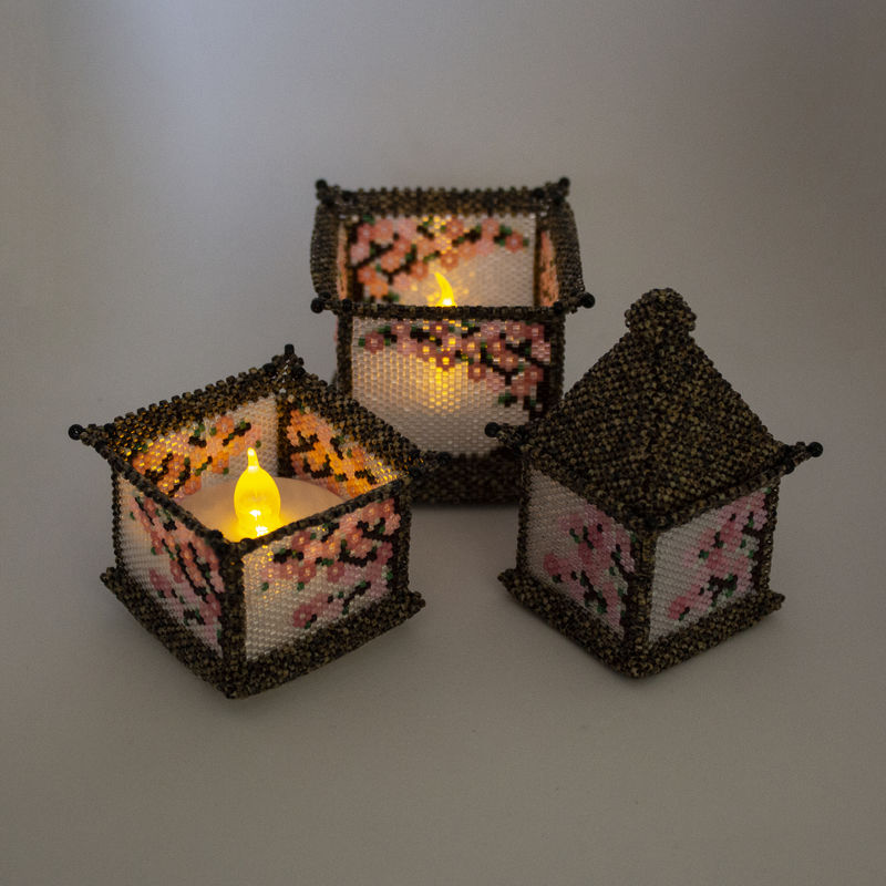 The Chinese Temple Stacking Trinket Box and Tea Light Holder - Peyote Stitch - product image