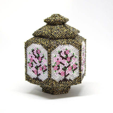 The,Blossom,Jar,Trinket,Box,and,Tea,Light,Holder,-,Peyote,Stitch,Beaded,beading,geometric,box,trinket,lantern,jewellerystorage,ornament,peyote,christmas,PDF,tutorial,pattern,instructions,handmade,gift, pattern,glass,Tracey Lorraine,Crystal Star Gems & Jewellery