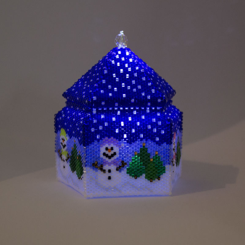 The Snowman Trinket Box and LED Tea Light Holder - Peyote Stitch - product image