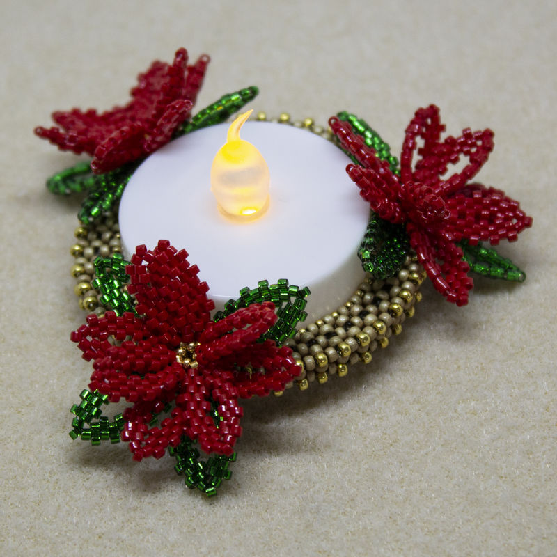 Poinsettia LED Candle Holder - Tutorial - CRAW - Peyote - product image