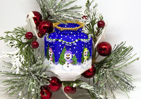 The,Snowman,Vase,-,Tutorial,Peyote,Beaded,beading,geometric,vase,snowman,vessel,ornament,peyote,PDF,tutorial,pattern,instructions,handmade,gift,Tracey Lorraine,Crystal Star Gems & Jewellery,Crystal Star