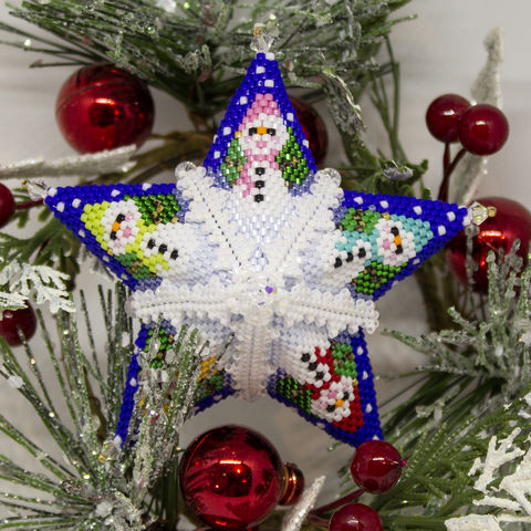 The,Snowman,Star,-,Tutorial,Peyote,Beaded,beading,geometric,vase,snowman,vessel,ornament,peyote,PDF,tutorial,pattern,instructions,handmade,gift,Tracey Lorraine,Crystal Star Gems & Jewellery,Crystal Star