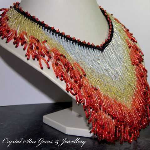 Flame,Necklace, Necklace, Fire Opal, Swarovski Crystal, Crystal, Toho, Miyuki, seed beads, beadwoven, beaded, necklace, red, orange, white, black