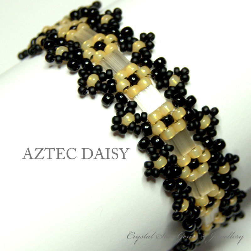 Black and Cream Aztec Daisy Bracelet - product image