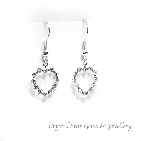 Heart,Earrings,earrings, heart, swarovski, crystal, silver