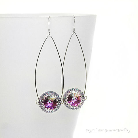 Swarovski,Rivoli,Earrings,earrings, swarovski rivoli, purple, blue, sterling silver, hand made jewellery