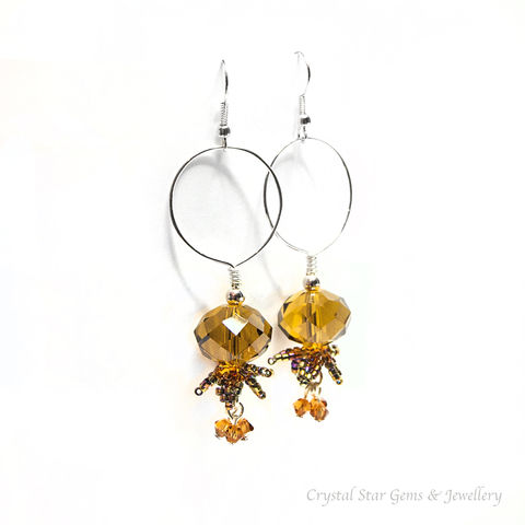 Flowerbell,Earrings,earrings, crystal, rondelle, amber, flower, swarovski, hoop