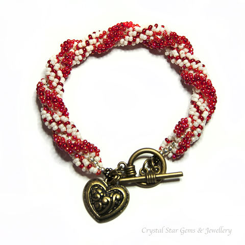 Red,and,Cream,Double,Spiral,Rope,Bracelet,double spiral, rope, bracelet, red, cream, red and cream, heart charm