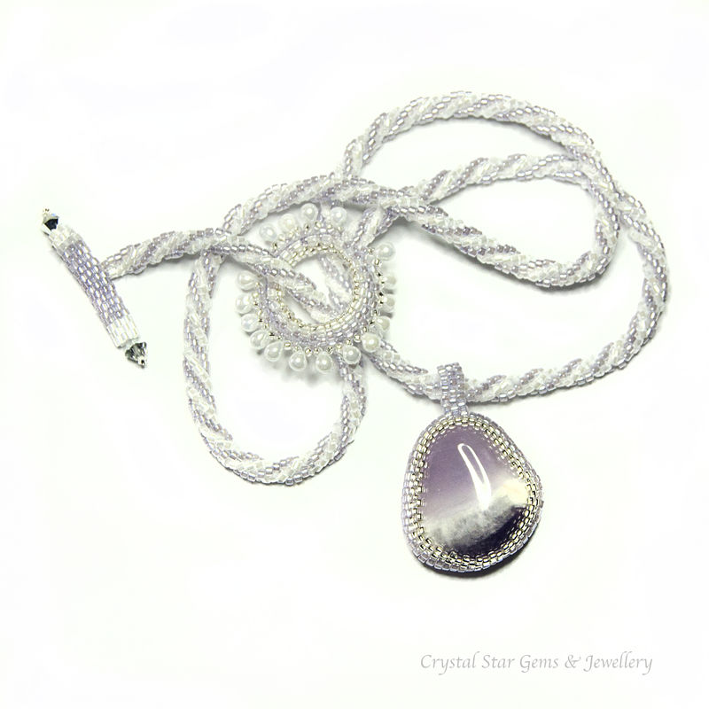 Amethyst Pebble Beaded Necklace - product image